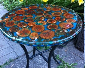 Glowing-In-The-Dark Tree Slices Coffee Side Table/Epoxy Resin/Stump Table/Stump Side Table, Rustic Furniture/Coffee Table with Metal Base