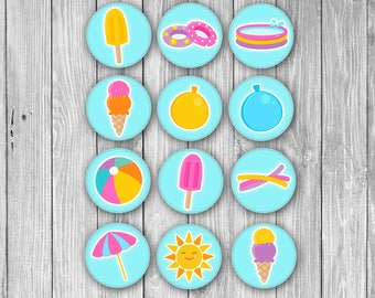 Summer Stickers/Cupcake Toppers (Digital)