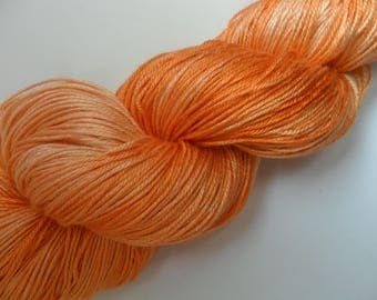 "100gms Handpainted 4ply Pure Mulberry Silk Yarn ""Flaming June"""