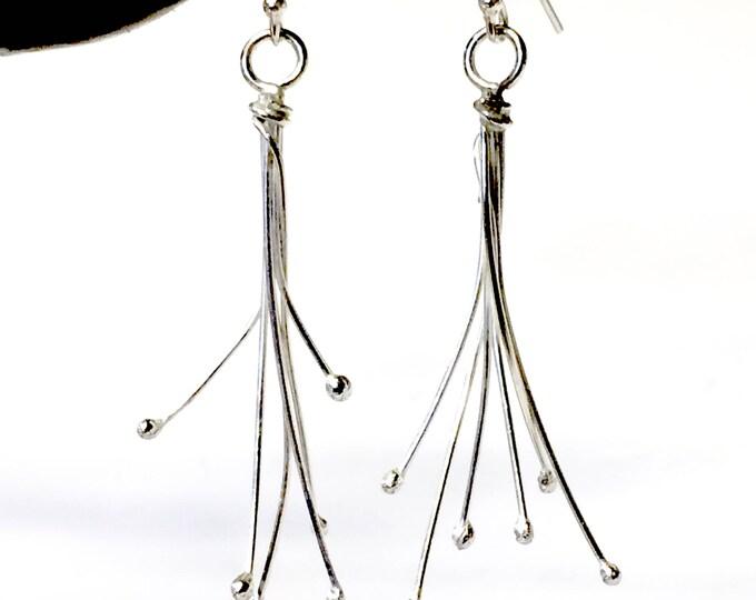 Silver Burst Drop Earrings