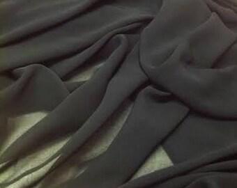 Black Chiffon Fabric, Black Sheer Material Sold By the Yard