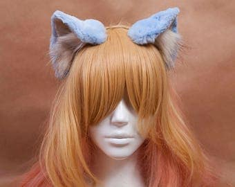Pale Blue and Ivory Kitty Ears Fur Headband
