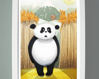 Wee Panda quirky children illustration wall art