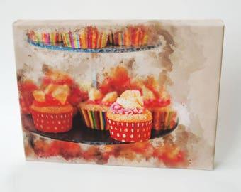 Wall Art, Canvas Art, Cupcake Canvas Print,  Cupcake Art Painting, Canvas Print, Cupcake Print of Painting