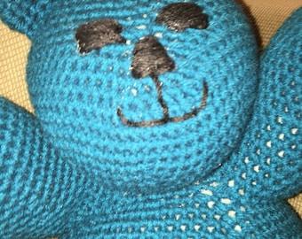 Crocheted Teal Teddy Bear