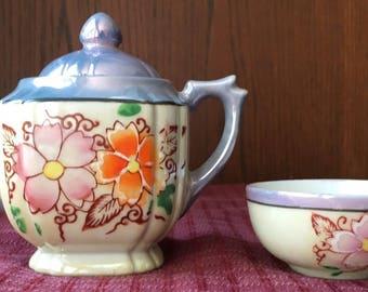 Vintage 1940's Lusterware Porcelain Hand Painted Teapot and Tea Cup Japan