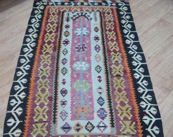 Oushak rug kilim,Turkish vintage pastel colors Home decorative rugs,100×160cm oushak floor rug,office decor