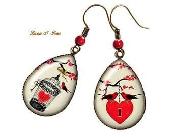Boucles d'oreilles gouttes Mon coeur en cage bronze cabochon verre cadeau Saint Valentin