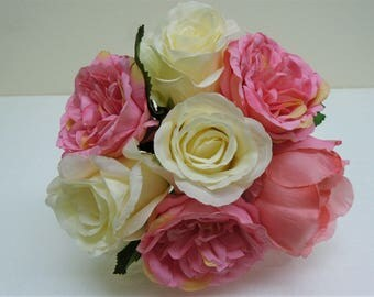 "CREAM PINK PEACH Rose Peony Bundle 7 Artificial Silk Flowers 10"" Bouquet 8216CRPKPH"