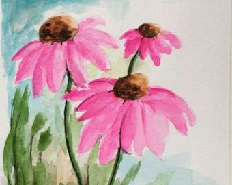 Coneflower greeting card/Watercolor Greeting Card/Coneflowers/Coneflower card/Floral greeting card/Card and envelope/Floral watercolor