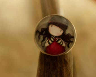 ring cabochon girl red dress