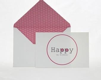 Carte «Happy» avec son enveloppe coordonnée origami coloris rose
