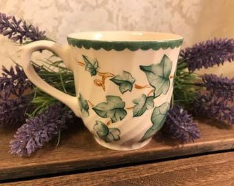 Vintage Tea Cup - International Tableworks Country Vine Pattern - Made in England - Green Ivy