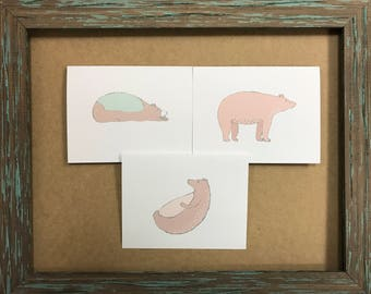 3 pack of whimsical bear note cards