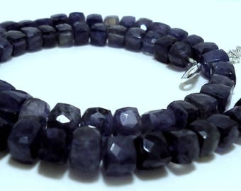 50% OFF Sale For Merry Christmas Natural Iolite Gemstone Square Shape Beads Necklace 188 Cts. 16 Inch Size 5 to 7 MM MGJ105