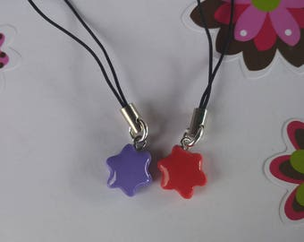 Polymer Clay Red/purple Star cell charms