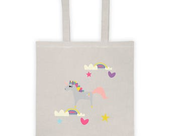 Tote bag, Bag, shopping bag, tote, canvas tote bag, cotton tote bag, Christmas gift bag, Christmas bag, Christmas gift idea - Unicorn