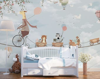 Nursery wallpapers etsy for 3d wallpaper for baby room