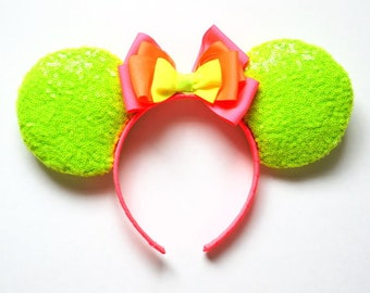 Neon Dream Sequin Mouse Ears