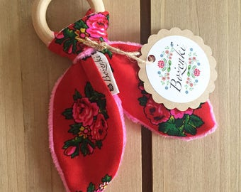 Red Goralski Fabric  Baby Teether