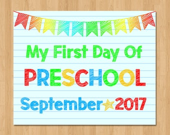 First Day of Preschool Sign - First Day of School Sign - Boy First Day Sign - 1st Day of School Photo Prop - Back to School - September 2017