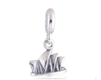 Sydney Opera House Dangle Charm , 925 Sterling Silver Pendant Fits to all Pandora Charm Bracelets