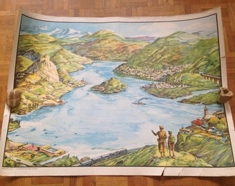 School poster geography - MDI - delta / Lake - vintage
