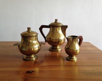 Tea/coffee set - silver metal, varnished gold - art deco