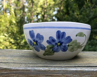 White Pottery Bowl -  Blue Flowers - Food Photography Prop - Ceramic - Handmade Pottery - Bowl