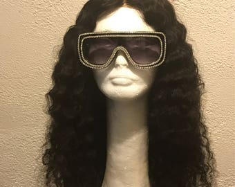 Brazilian Deepwave Wig-Curly Sue Full Unit with Lace Closure