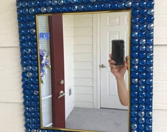 dark blue mirror decorated mirror mirror decor gems mirror wall hangle - Decorated Mirror