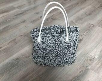 crochet wool and leather handbag