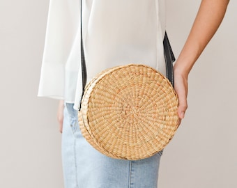 Straw bag Thai Weaving seagrass(water hyacinth) cross body bag handmade with dark brown leather strap / boho bag in round shape