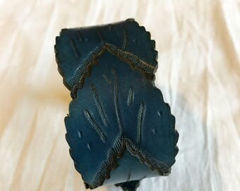 Leaf Leather Bracelet - Blue - Blue Leather Cuff - Leather leaves Bracelet