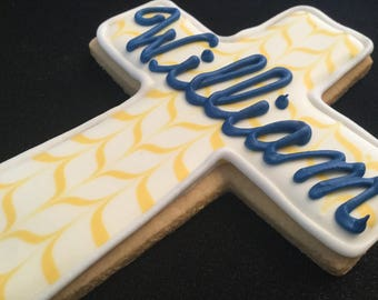 Pattern cross with name in script  | Baptism cross cookie favors | Baby boy Christening | Navy blue baby's name
