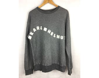 KARL HELMUT Long Sleeve Sweatshirt Pull Over Medium Size Sweatshirt With Big Embroidery Spell Out Logo