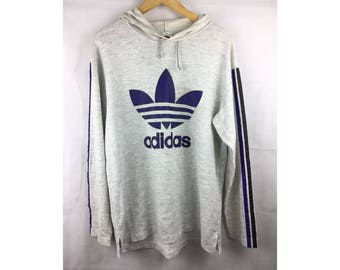 ADIDAS Three Stripes Long Sleeve Hoodies Large Size with Big Adidas Trefoil Logo and Spell out Logo