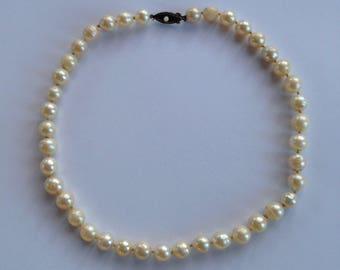 """Genuine Pearl Necklace 16 1/2"""" Long, Pearls 8-9mm, Hand Knotted, Vintage, Silver Clasp"""