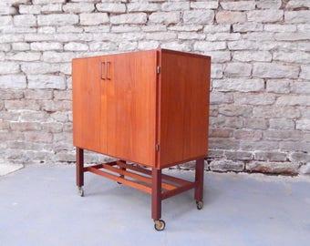 Retro teak record cabinet mid century Danish style vintage 60s 70s