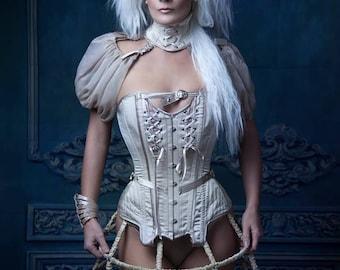 3 pieces set corset collar bibi BibianBlue-boudoir-vintage-nude color