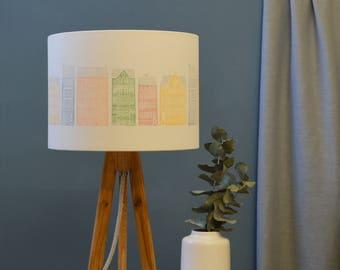 Copenhagen Drum Lampshade - handmade lampshade - home decor - fabric shade - designer lighting - decor lighting - buildings lampshade