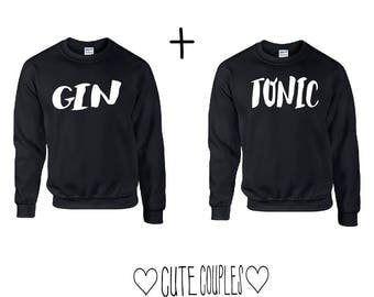 Gin & Tonic Couple Sweater Schwarz  - sweater,hoodie,pullover,t-shirt,tee,top,couple,Pärchen,best friends,gift,