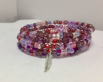 Purple seed bead memory wire multi wrap bracelet