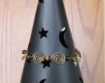 Bracelet Spiral of Life and Gemstone Wire Work