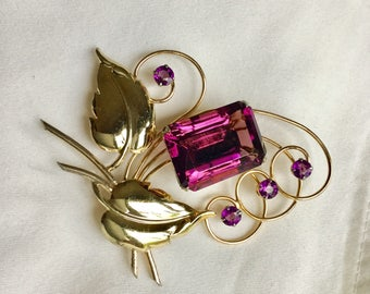 Harry Iskin vintage sterling and amethyst glass brooch