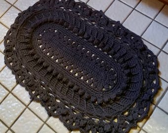 Rustic Area Rug, Bathroom Rug, Area Rug, Bathroom Mat, Crochet Area Rug, Oval Area Rug, Rustic Rug, Doily Rug, Dorm Decor, Dorm Rug