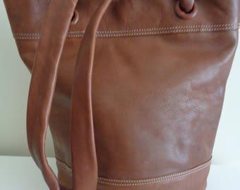 Vintage Brown Leather Bag, Shoulder Bag, Tote Bag, Big Bag, Big Shopper, Hippie Bag, Bohemian Bag