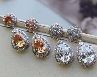 Cubic Zirconia Crystal Teardrop Earrings ,  Art Deco Earrings , Vintage Style Earrings, Bridal Earrings,  Wedding Earrings, Stud Earrings