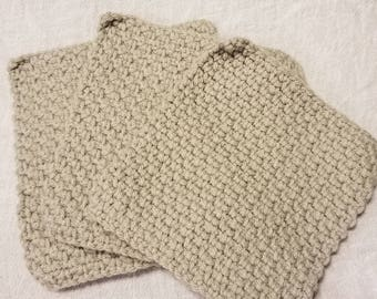 Crochet dishcloth grey