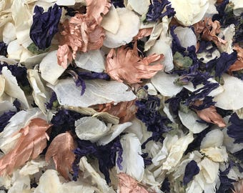 Rose Gold, Ivory & Blue/Purple   Prince Blueblood   Real petal wedding confetti   Biodegradable and 100% natural   Wedding Throwing Confetti